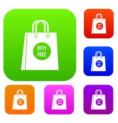 Duty free shopping bag set collection vector
