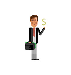 European man with suitcase and dollar sign vector