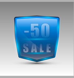 fifty percent sale blue emblem vector image