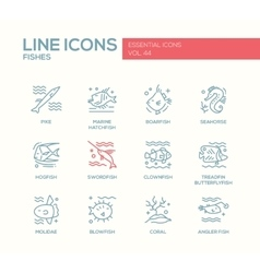 Fishes - line design icons set vector image vector image