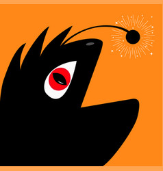 funny monster reptile head silhouette with red vector image vector image