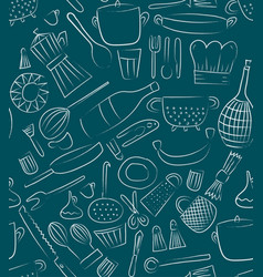 hand drawn kitchen elements set for menu vector image vector image