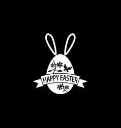 Happy easter egg with ribbon bunny ears solid icon vector