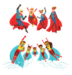 Happy family of superheroes set smiling parents vector