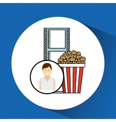 Happy woman cartoon cinema pop corn vector