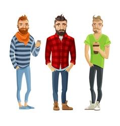 Hipster Cartoon People Set vector image