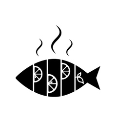 Hot fish with lemon Icon Isolated vector image