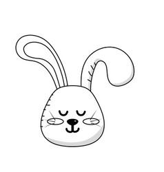 Line teddy rabbit boy head animal wild vector