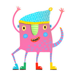 little kids monster in clothes showing vector image vector image