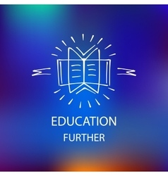 Logo library bookstore educational institution vector
