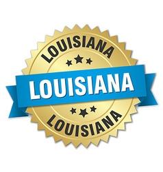 Louisiana round golden badge with blue ribbon vector