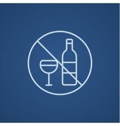 No alcohol sign line icon vector