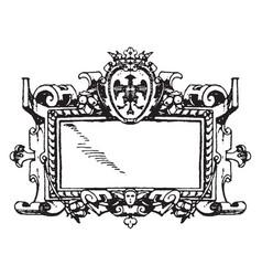 Renaissance strap-work frame was a picturesque vector
