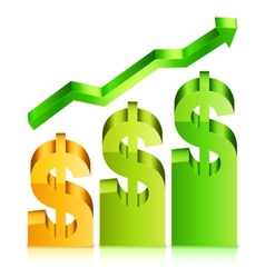 Rising dollar rate concept vector