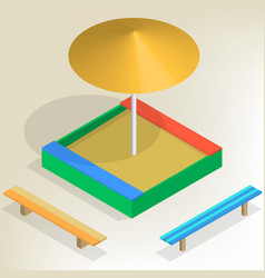 sandbox with benches in isometric vector image vector image