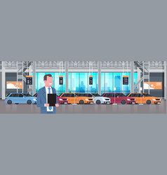 Seller man in cars dealership center showroom vector