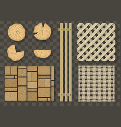 set of different wooden elements vector image vector image