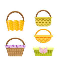 Set of wicker baskets in vector