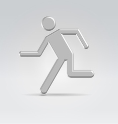Silver exit running man icon vector image vector image