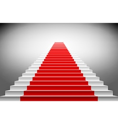 Stairs covered with red carpet scene illuminated vector