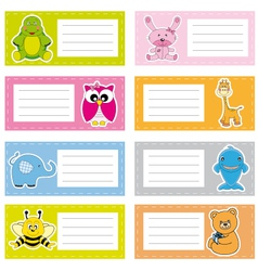 stickers with cute animals vector image