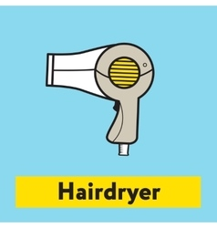 The flat icon of hairdryer silhouette on the blue vector image