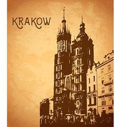 Vintage card with krakow vector