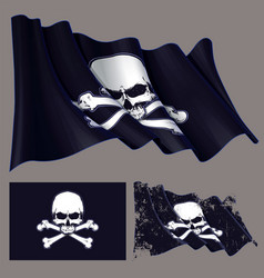 waving pirate flag jawless skull and bonesxa vector image vector image