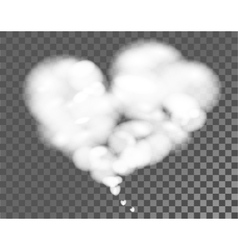 White cloud shape of heart on transparent vector image