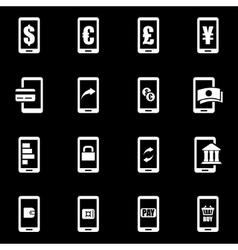 white mobile banking icon set vector image