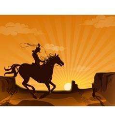 Wild west landscape poster vector