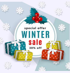 Winter sale poster template vector