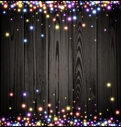 Wooden christmas luminous background vector