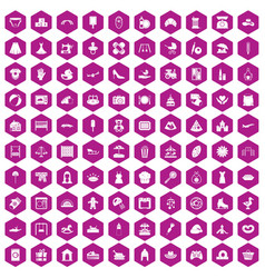 100 motherhood icons hexagon violet vector