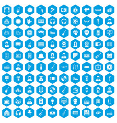 100 music icons set blue vector