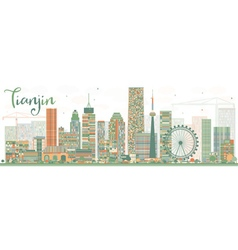 Abstract tianjin skyline with color buildings vector