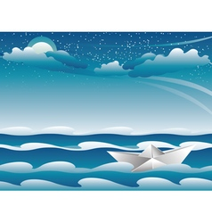 Paper boat in the sea4 vector