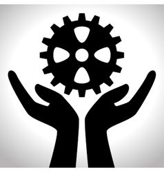 Hand holding gear team design isolated vector