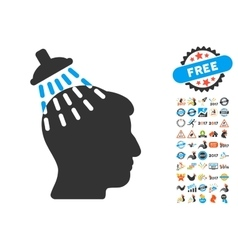 Head shower icon with 2017 year bonus pictograms vector