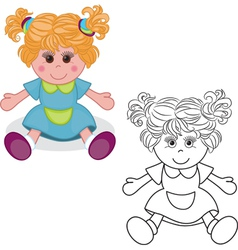 Outlined girl doll toy vector