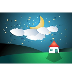 Cartoon landscape with moon and stars vector image