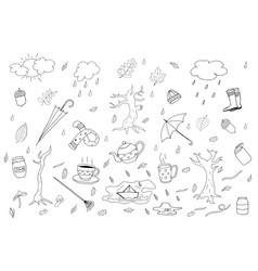 autumn season collection in doodle style vector image