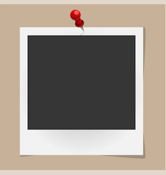 Realistic photo frame on red pin isolated on vector