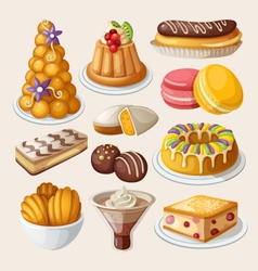 Set of traditional french desserts vector