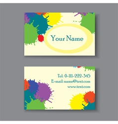 business card with blots vector image