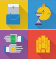 set of four financial icons in a flat design vector image