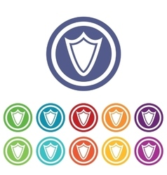 Shield signs colored set vector