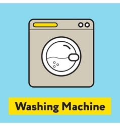 The flat icon of washing machine silhouette on the vector