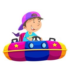 Boy riding on bump car vector