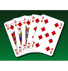 Poker hand - straight flush vector